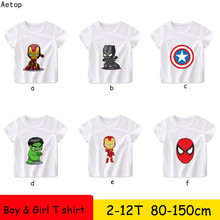 100% cotton Kids O-Neck Tops Summer white T-shirt Iron Man team leader Funny 1 Children Cartoon T shirt Baby Clothes 2-12y(China)