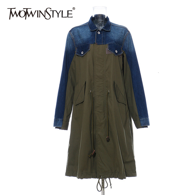 TWOTWINSTYLE Patchwork Denim Trench Coats Female Lapel Collar Long Sleeve High Waist Drawstring Autumn Women's Windbreakers Tide