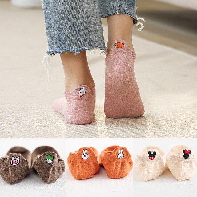 5 Pairs/lot 2021 Summer Cotton Cartoon Drew Socks Women Heel Bunny Carrot Cute Socks In Bulk Trend Ins Embroidery Women's Socks 2