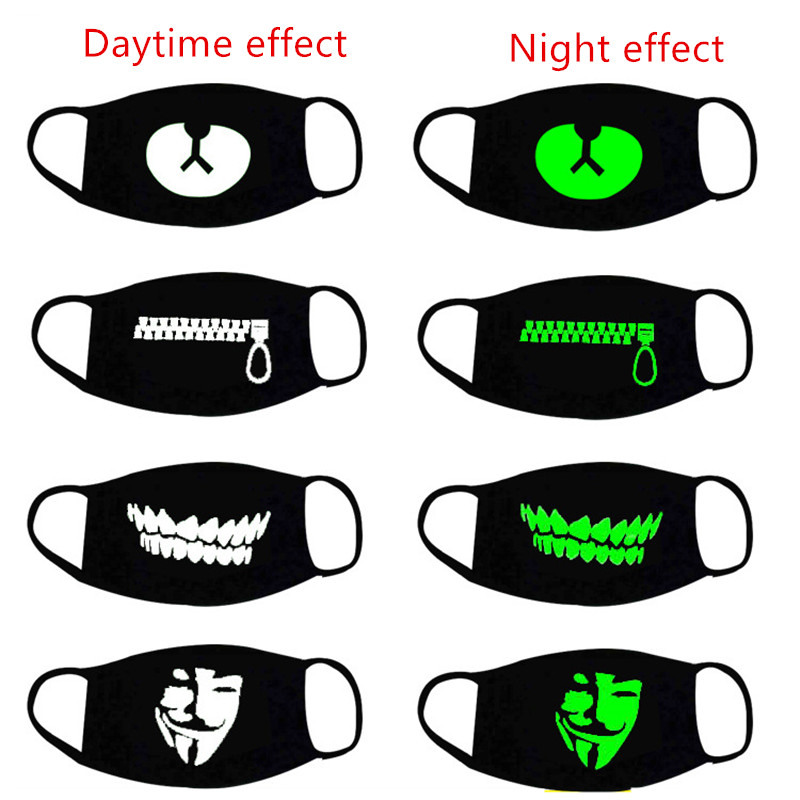 Halloween Decor Luminous Party Mask Dustproof Patterned Mouth Face Mask Lucky Bear Women Men Cosplay Props Halloween Decoration