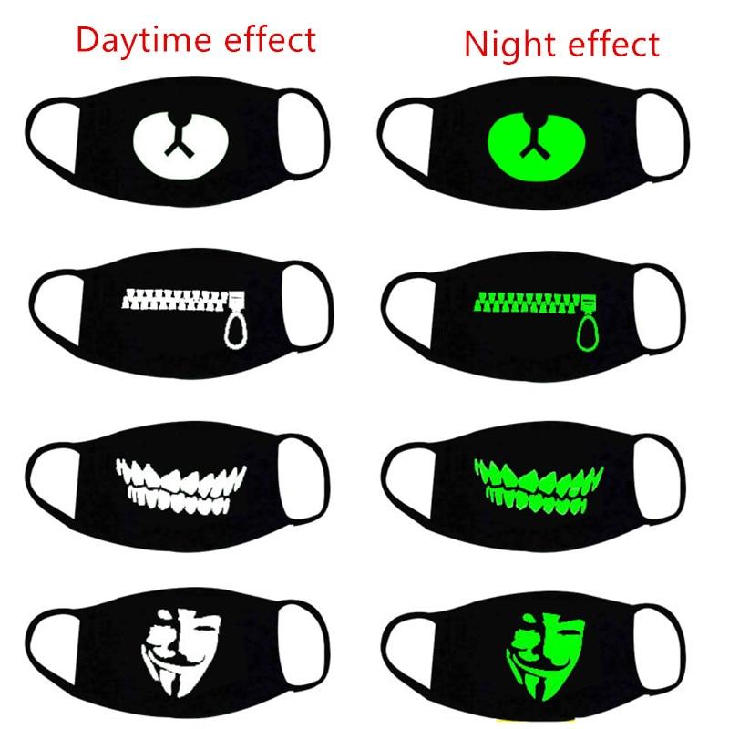 Halloween Decor Luminous Party Mask Dustproof Patterned Mouth Face Mask Lucky Bear Women Men Cosplay Props Halloween Decoration