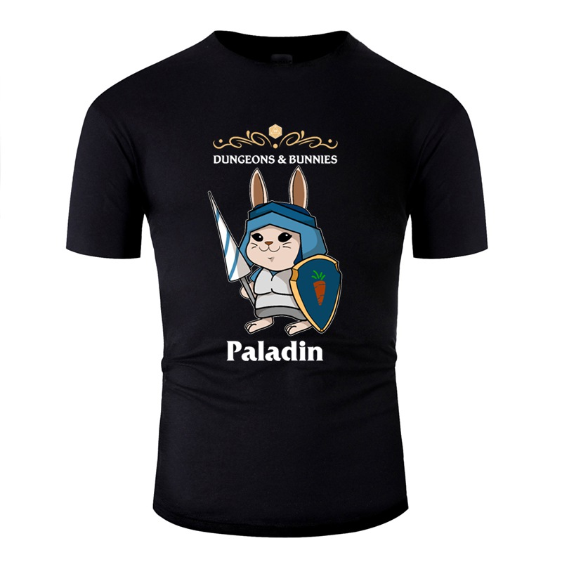 Funny Casual Dungeons And Bunnies Paladin Fantasy Crawler Rpg T Shirt Man Cotton Classic T Shirt Gents Short-Sleeve Top Tee image