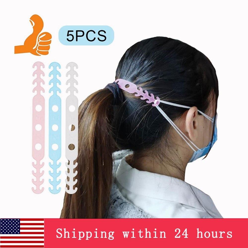 In Stock! 5Pcs Soft Face Mask Ear Hooks Buckle Kids Adjustable Earache Preventive Fixer Random Color