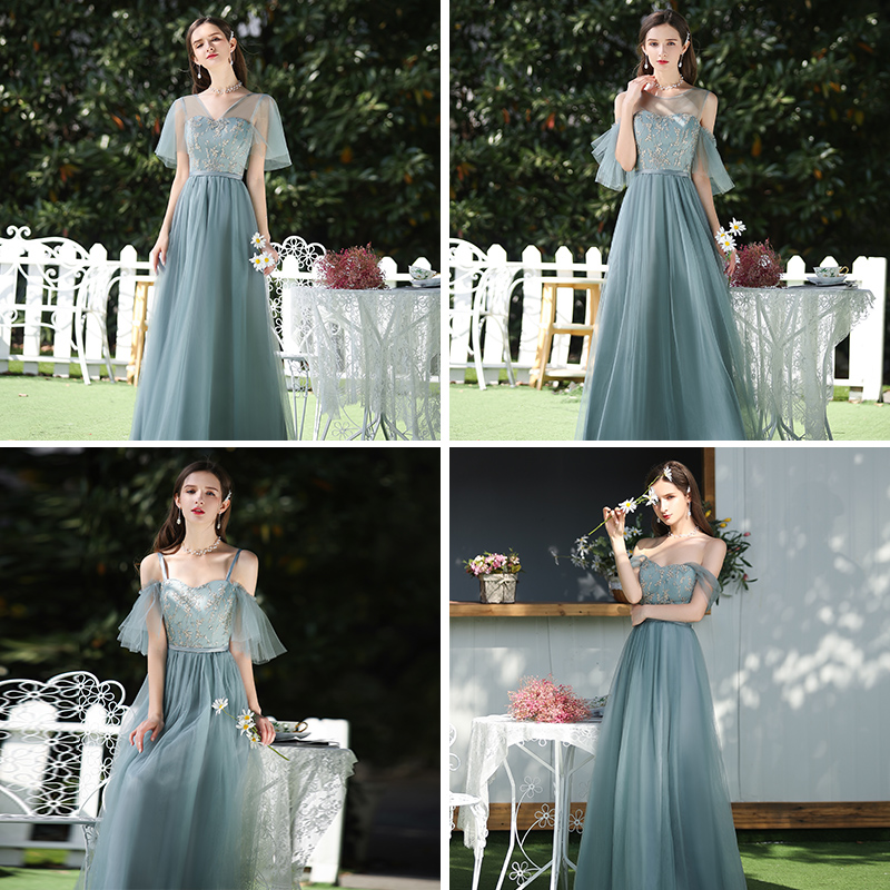 Long Forest Green Bridesmaids Dress Elegant Plus Size Tulle Wedding Guest Dress For Wedding Party Sexy Prom Dress Empire Vestido