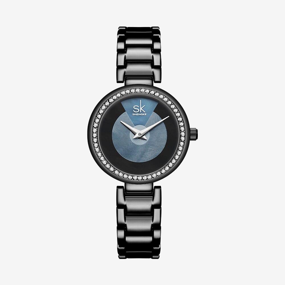 Shengke New Design Black Bracelet Women Watches Quartz Diamond Dial Ladies Wristwatch Japanese Movement Watch Montre Femme