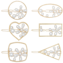 NEW Korea Geometric Metal Hairpins Imitiation Pearl Star Shape Chic Hair Clips Women Girls Elegant Pearls Accessories