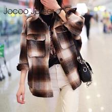 Jocoo Jolee Vintage Plaid Jackets Color Block Coats Long Sleeve Woolen Coats Thi