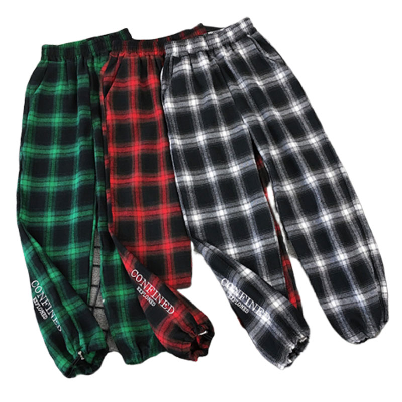 Harajuku Red Plaid Pants Hippie Pants Harem Pants Women 2020 Fashion Vintage Casual Pants Elastic Waist Woman Trouses Plus Size