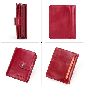 Image 4 - Contacts Genuine Leather Wallets Women Men Wallet Short Small Rfid Card Holder Wallets Ladies Red Coin Purse Portfel Damski