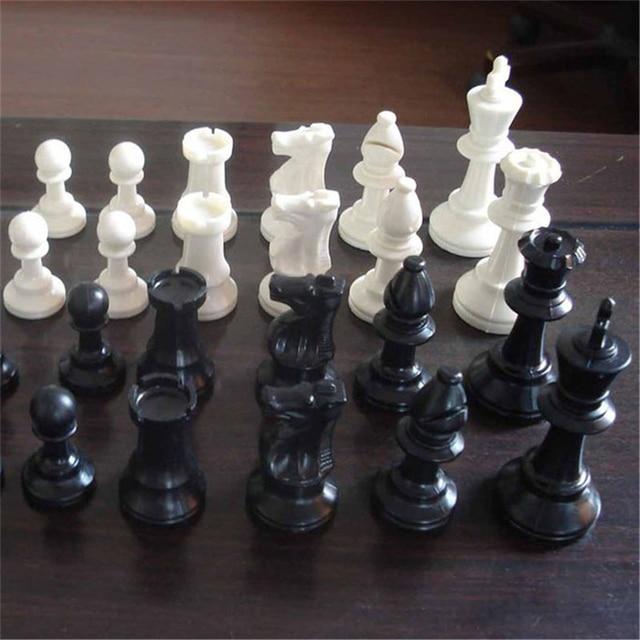 Pièces d'échecs en plastique 32 pièces jeu d'échecs roi hauteur 49/64/75/95mm jeu d'échecs Standard échiquier médiéval pour les jeux de voyage IA13 2