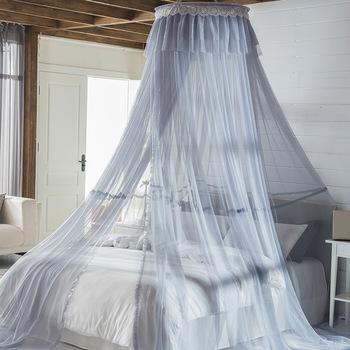 Dome moskitiery sufitowe księżniczka w europejskim stylu namiot przędzy księżniczka moskitiery Ins baldachim do łóżka 1 8M montaż w stojaku-bezpłatny tanie i dobre opinie CN (pochodzenie) Trzy-drzwi 70*280*1250cm sxj20190322 Mosquito Net Rigid Wire Polyester Fiber (Polyester) A General-Purpose