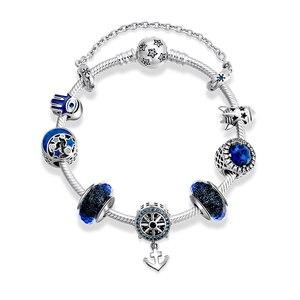 Image 2 - כוח של אמונה חדשה 925 סטרלינג כסף עוגן קסמי צמיד כחול זכוכית חרוזים מסנוור ברור CZ עגול שרשרת לנשים תכשיטים