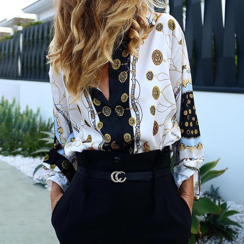 Women Fashion Top Elegant Office Workwear Chain Metallic Print Bohemian Blouses