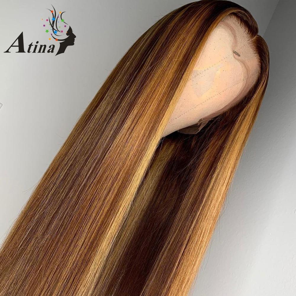 Эффектом деграде (переход от темного к выделить парики из натуральных волос с Африканской структурой, коричневый Мёд блондинка Цветной 13x6 Синтетические волосы на кружеве парики для чернокожих Для женщин Рэми Прямые 130 150 180 плотность - 3