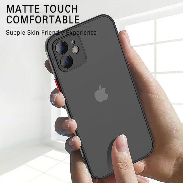 Luxury Silicone Shockproof Matte Phone Case For iPhone 11 12 Pro Max Mini X XS XR 7 8 Plus SE 2020 Ultra Thin Transparent Cover 3