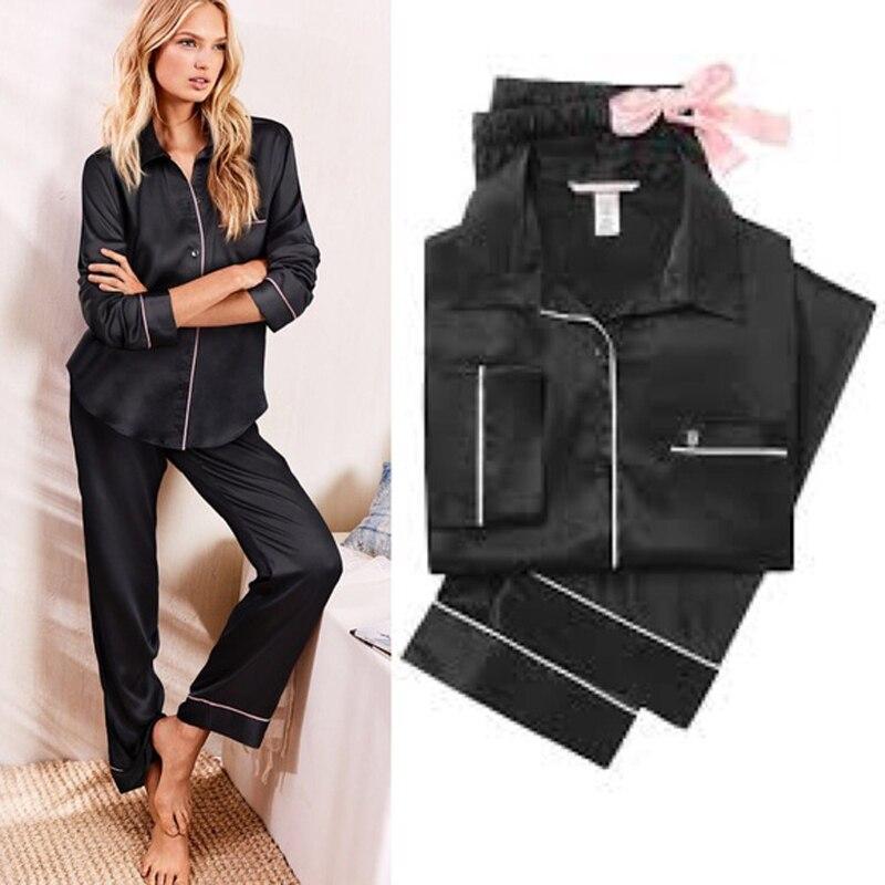 Stylish Autumn Women's Solid Pajamas Sets Button Long Sleeve Loose T-shirt Top And Silk-like Satin High-waist Long Pants S-XL