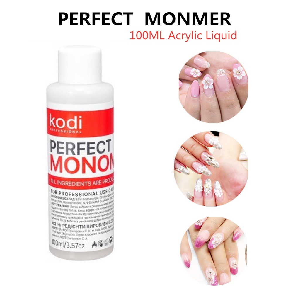 Kodi 100ml Acrylic Liquid 3D Tips Nail Builder Perfect Monomer Clear Pink White Crystal Powder For Extend