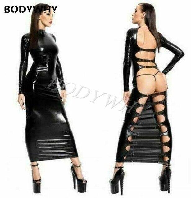 Femmes Latex Pu cuir longue robe humide Look moulante Lingerie Clubwear fête discothèque Sexy robes de danse noir