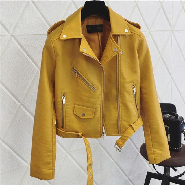 FTLZZ Fashion Pu Leather Jacket Women Bright Color Black Motorcycle Coats Short Faux Leather Biker Jackets Soft Coat Female 4