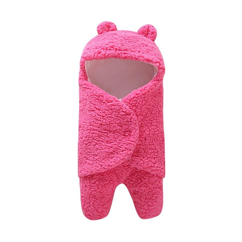 Cute Cartoon Born Baby Short Plush Blanket Swaddle Wrap Soft Short Plush Blanket Photography Prop