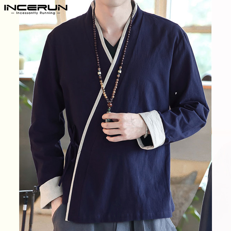 Men Shirt Chinese Style Long Sleeve Cotton Patchwork V Neck Casual High Quality Vintage Shirts Men 2020 Retro Hanfu Tops INCERUN