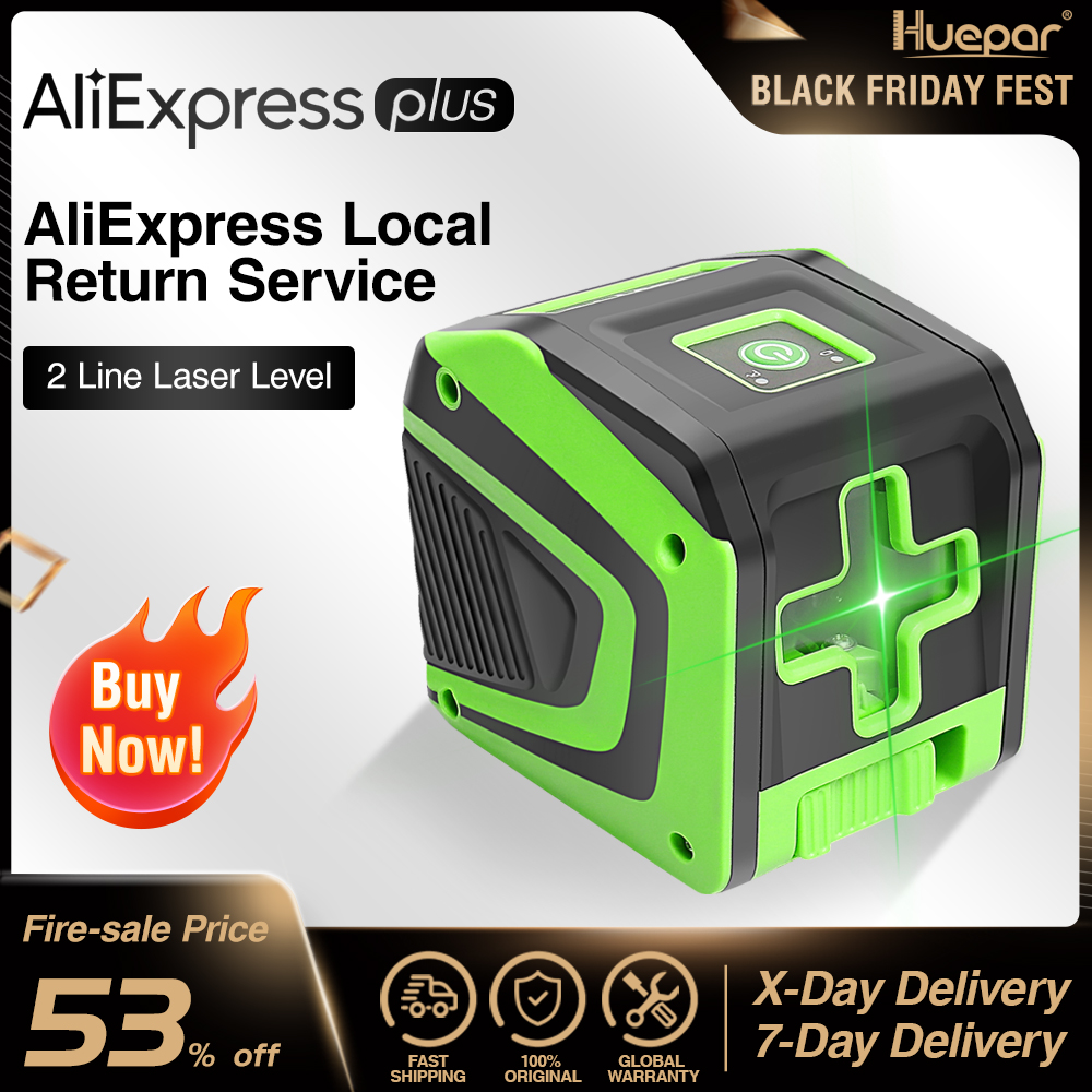 Huepar Self-leveling Laser Level with Rechargeable Li-ion Battery- Green Beam Cross Line Laser Level with Pulse Mode laser Tool