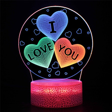 I LOVE YOU 3d Lamp Illusion Night Light for Lover Atmosphere Light For Romantic Propose  Wedding Decor Valentine