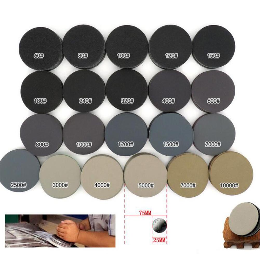 25PCS 3-inch 75MM Disc Flocking Sand Paper 1000 # 2000 # 3000 # 4000 # 5000 # Grit Wet Dry Use Sand Paper For Jade Car Polishing
