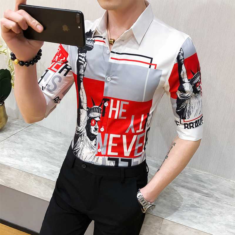 Casual Blouse Homme 3XL High Quality Letter Shirt Men 2020 Summer Half Sleeve Men Shirt Slim Fit Tuxedo Fashion Turn Down Collar