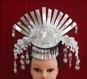 Miao серебра волос палочка, Шпилька для волос национальных меньшинств Китая танцор аксессуары для волос фестиваль для выступления повязка на...
