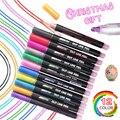 Новый 12 шт./компл. двойная линия ручка металлик Цвет волшебный контур маркер для белой доски блеск для рисования Рисование школьные товары д...