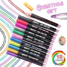 New 12PCS/Set Double Line Pen Metallic Color Magic Outline Marker Pen Glitter for Drawing Painting Doodling School Art Supplies