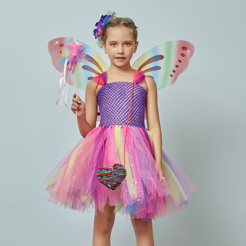 Girls Butterfly Fairy Fancy Tutu Dress Wings Costume Kids Princess Birthday Party Dress Halloween Cosplay Kids Spring Tulle Dress (1)