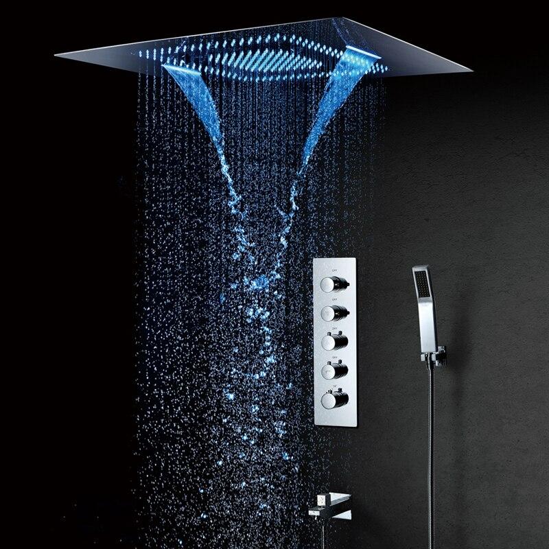 600*800mm LED Chuveiro Misty Cachoeira Chuvas Showerhead Spa Conjuntos de Torneiras Termostática Do Chuveiro Mixer Chuveiro Montado Teto
