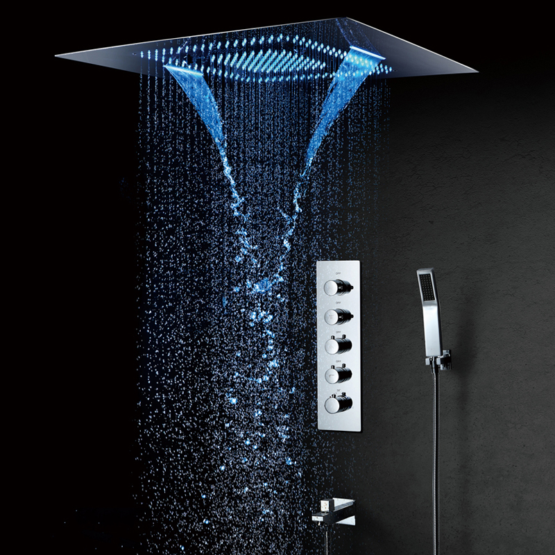 600*800mm LED Shower Head Misty Waterfall Rainfall Showerhead Spa Thermostatic Faucets Mixer Ceiling Mounted Sets
