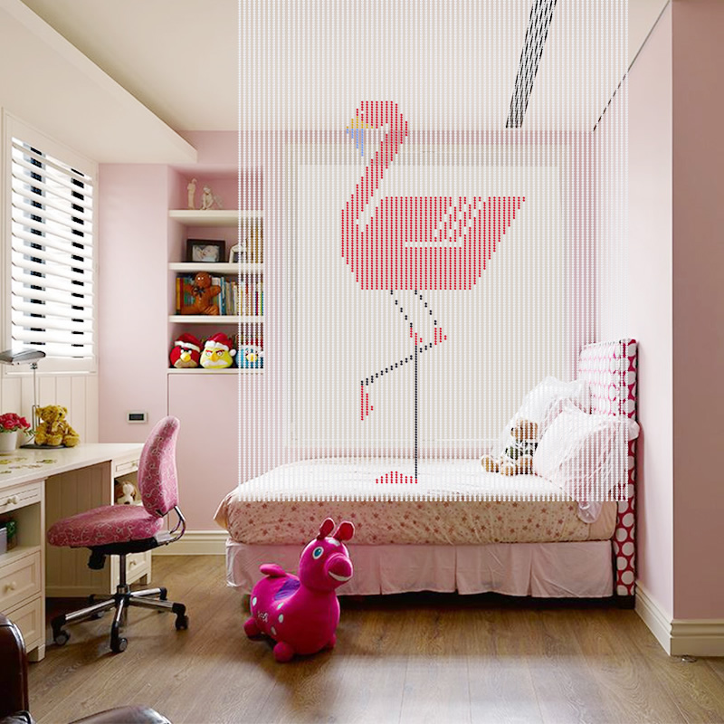 Luxury Crystal Curtain Glass Beads String Door Curtain Handmade Flamingo Window Room Divider Home Decoration Cortina