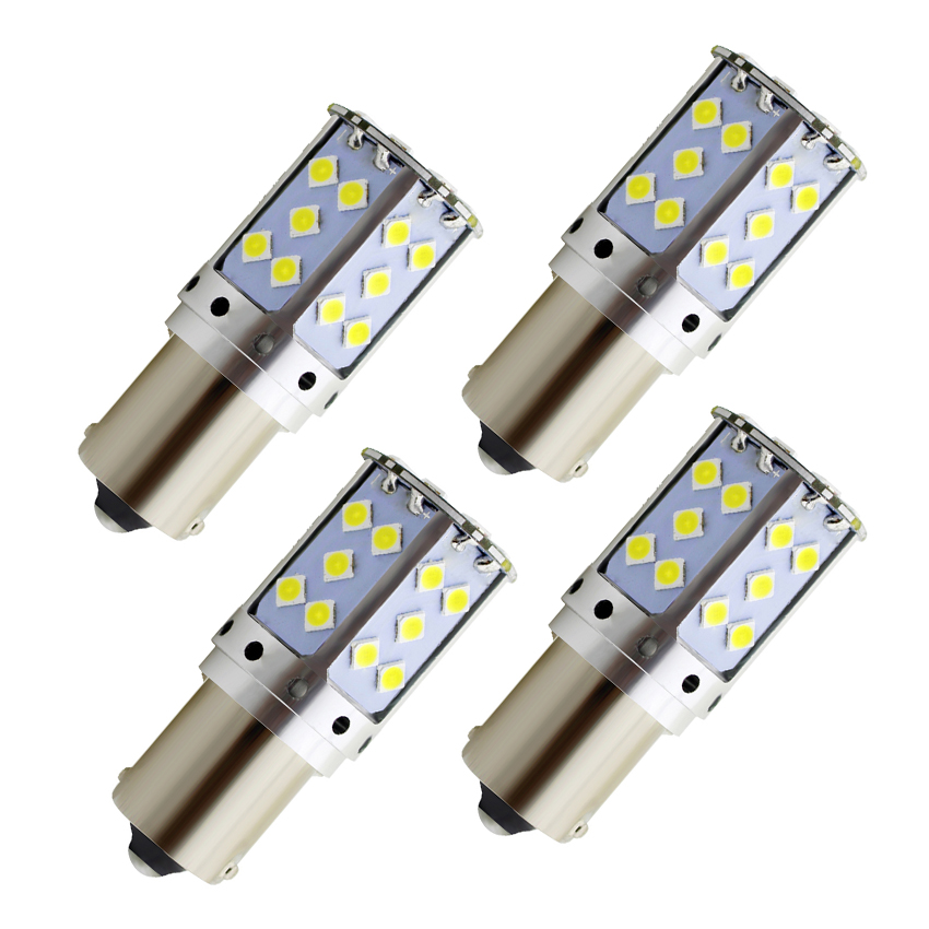 4PCS P21W LED 1156 BA15S BAU15S PY21W <font><b>T20</b></font> 7440 W21W 3030 35SMD Bulb Canbus Free LED Lamp For Car Turn Signal Light Amber White image