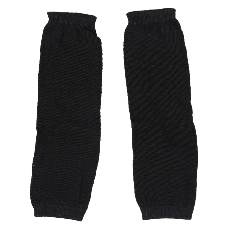 Ladies Winter Stretchy Cuff Fingerless Black Knitted Long Gloves Arm Warmers Pair
