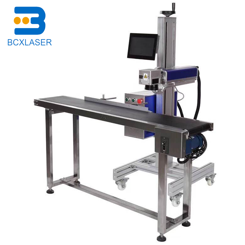 Excellente qualité prix concurrentiel 20W CO2 Laser Machine de marquage avec en ligne table de marquage pour bouteilles en plastique