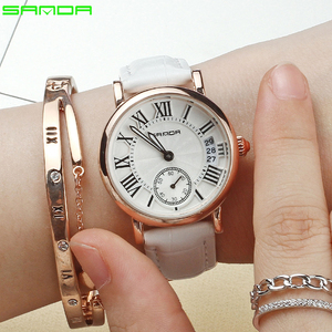 Image 2 - 2020 SANDA ساعة ذهبية وردية للنساء فستان ساعة ماركة الإناث الجلود التقويم ساعة الكوارتز السيدات ساعة اليد Relogio Feminino
