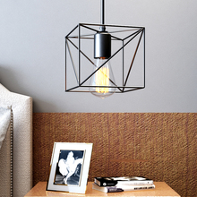 E27 Modern Nordic Iron Pendant Lights Black Iron Retro Loft Cage Pendant Lamp American Vintage Industrial Metal Hanging Lamps vintage wicker pendant lamp hand made knitted hemp rope iron coffee shop pendant lamps loft lamp american lamp free shipping
