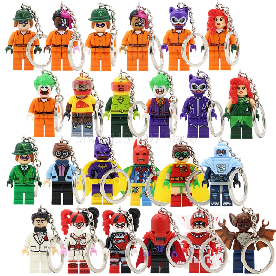 Batman Single Sale Keychain Two-Face Harle Quinn Joker Mr Freeze Catwoman Riddler Super Hero Building Blocks Toys Legoing