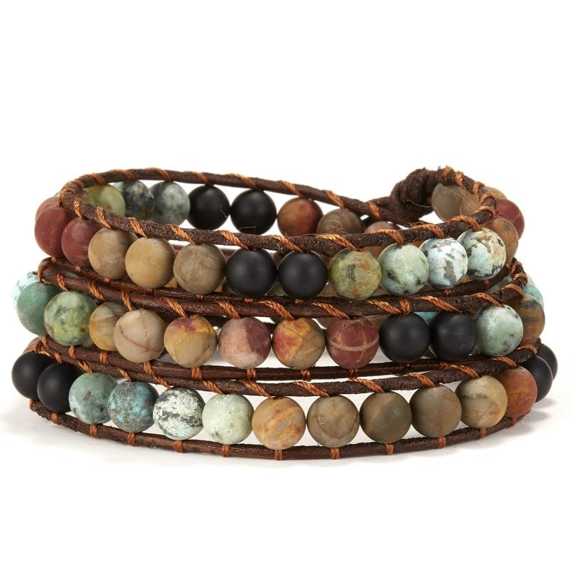 Women 7 Chakra Natural Stone Braided Beads Bracelet Leather Wrap Bangle Jewelry