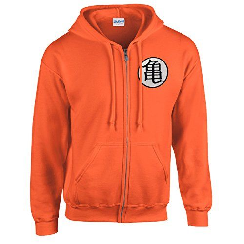 SCHWEISS ZIP HOOD 18600 BESTICKT PATCH DRAGON BALL Z GT GOKU KAME MASTER MUTEN TURTLE ORANGE L