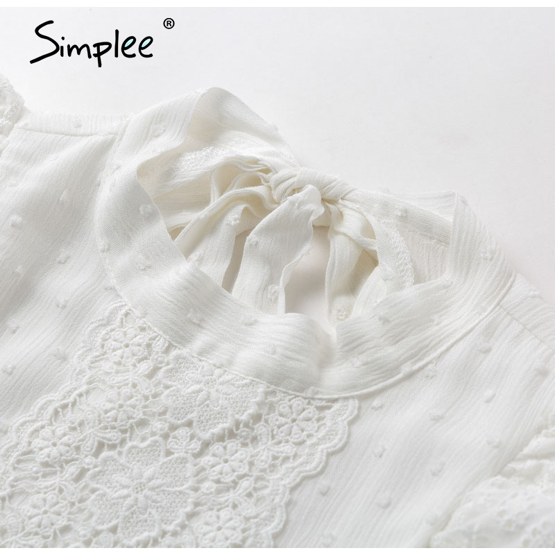 Image 5 - Simplee Backless lace embroidery women tank tops Ruffled hollow out peplum tops female summer style Streetwear ladies white topsTank Tops   -