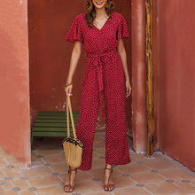 Zomer Korte Mouwen Vrouwen Jumpsuit Vintage Rode Stippen Sjerpen Hoge Taille Jumpsuits Koreaanse Office Lady Causale Romper Playsuit(China)