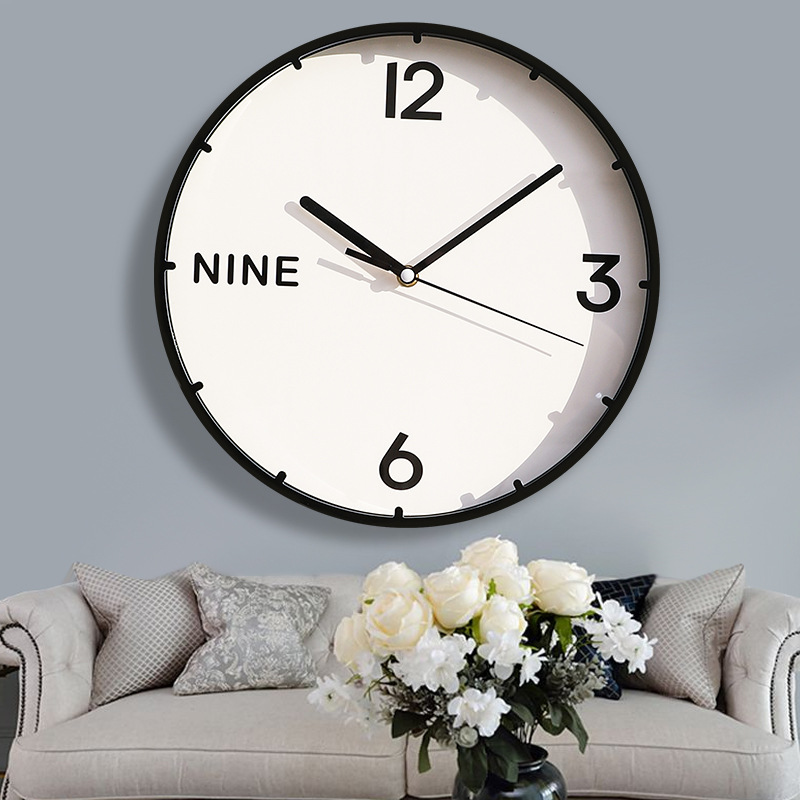 12 Inch New European Mute Quartz Wall Clock Wall Clock Living Room Modern Minimalist Home Clock