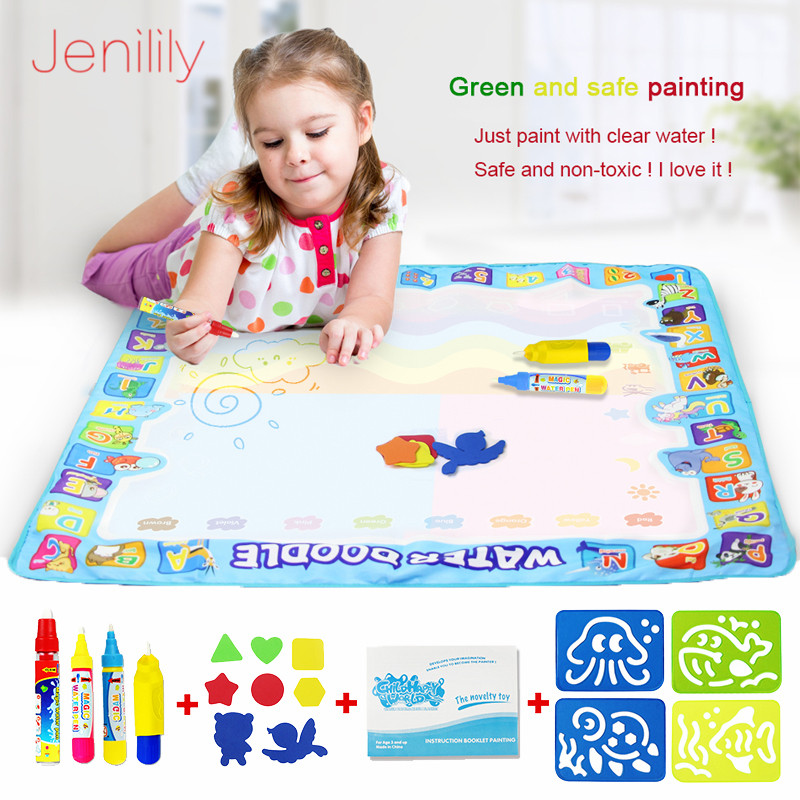 4 Types Big Size Magic Water Drawing Mat Set With Water Pen & EVA Stamps Painting Doodle Board Educational Toys For Kids