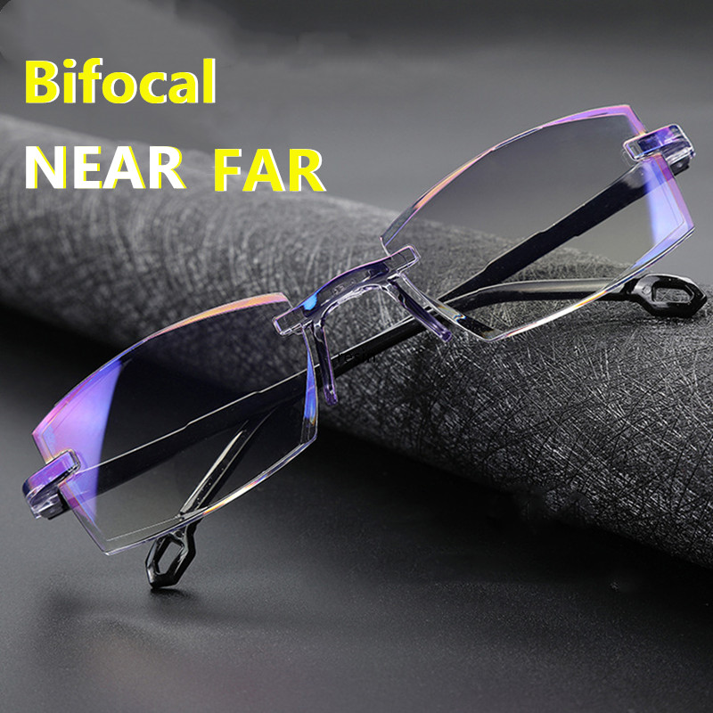 H31982baecc7848139b0d49751ba977acn - Men Women Rimless Reading Glasses Bifocal Far Near Anti Blue Light Magnification Eyewear Presbyopic Glasses Diopter +150 +200