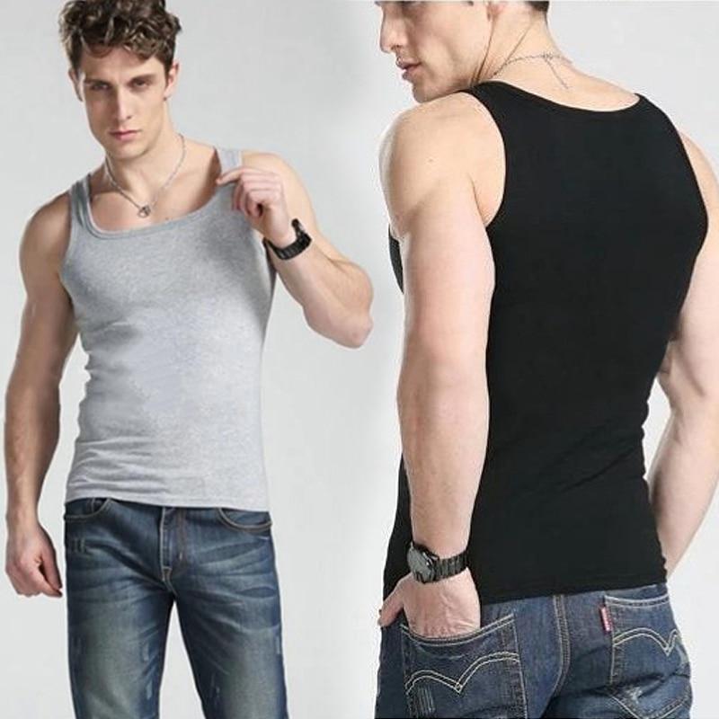 Summer Men Tanks Sleeveless Tops Men Muscle Vest Slim Fit Undershirts Fitness Clothing Solid Singlet Bodybuilding Stringer Vest